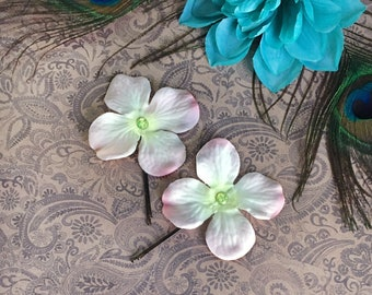 faery flower bobby pins - 2 pale pink & white fabric flower hair pins with rhinestone centre, brown jumbo pin