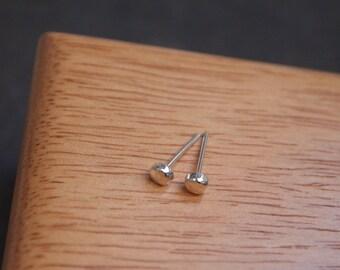 Single stud earring or pair, sterling silver stud earrings, tiny hammered silver studs, 3mm diameter unisex earrings handmade in UK