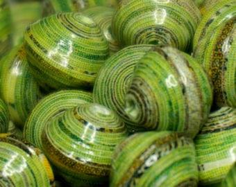 Paper beads, handmade, jewelry making, OOAK, pearls, fern green.