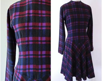 Vintage 1950's Anne Fogarty Plaid Dress With Pockets | Vintage 1950's Dress | Vintage 1950's Wool Dress |