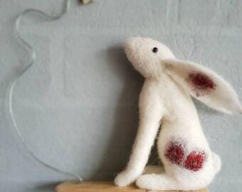 Stargazing hare, star gazing , moongazing hare, needle felted wool. Fibre artist sculpture