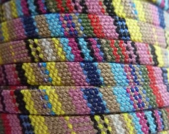 Cotton woven, flat, ethnic, 5 mm strap, sold by 1 M