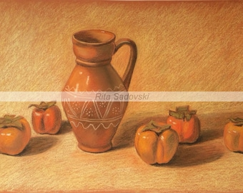 Persimmon and Pottery, Pastel, High Quality Print, Living Room Decour, Size 19.7 X 12.8''