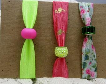 Elastic Hair Ties Beaded Elastic Hair Ties Bright and Bold Set of Three Fold Over Elastic Hair Ties or Bracelets