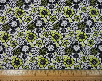Black and Green Floral - 1/3 Yard