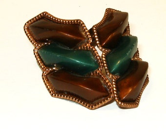 Vintage Copper Clip On Earrings with Green and Brown Accents