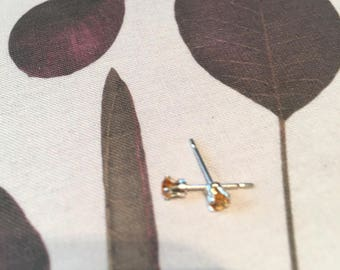 citrine stone stud earrings | yellow citrine stone | sterling silver earrings |