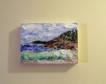 Arcadia Maine Coast 1 - Oil 5x7-Original Oil- Maine Seacoast-Home Decor-Gift-Wedding Gift-Birthday-Affordable Art
