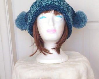 Pom Pom Hat, Slouchy Knit Hat, Beanie Hat, Pom Pom Beanie Hat, Knitted Beanie Hat, Knitted Slouchy Hat, Hand Knitted Hat, Winter hat