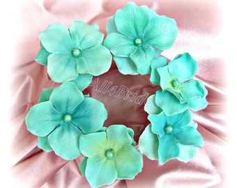 Aqua Blue Flower Hair Pins, Set of Six Hydrangeas Flowers - Weddings Bridal Bridesmaid Hair Accessories,
