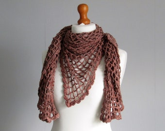 Elegant shawl eco friendly wrap triangle scarf recycled silk cotton viscose yarn in summer wear terracota
