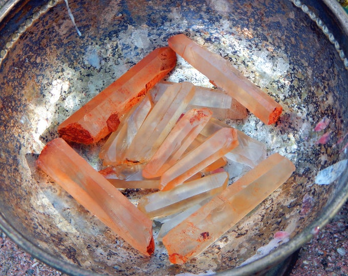 SALE Tangerine Lemurian Starseed Quartz two sizes - One large or medium crystal for reiki application
