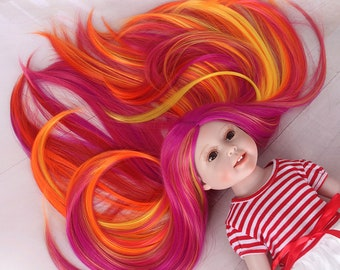 American Girl Doll Wig Long Straight Ombre Red Highlights Pink Synthetic Hair for AG Doll Bald Head