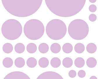 70 Light Purple Lavender Vinyl Polka Dots Bedroom Wall Decals Stickers Teen Kids Baby Girl Nursery Dorm Room Removable Custom Easy Install