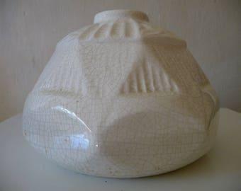 Art deco vase ball Crackle white