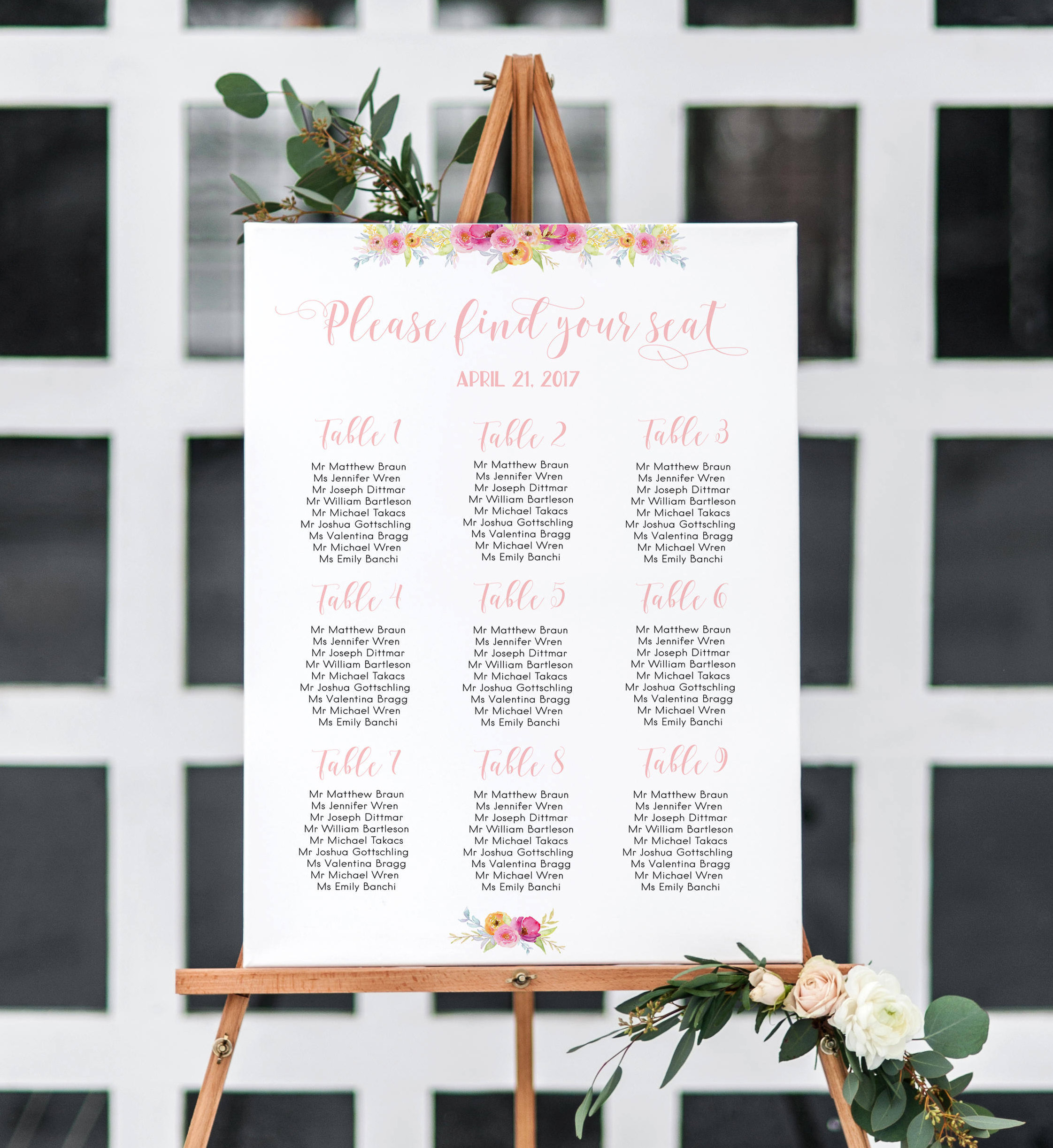 Floral SEATING Chart Wedding Seating Chart Table Assignment