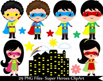 Kawaii heroes boys and girls-Digital Clip Art Graphics Personal/ Commercial Use(076)