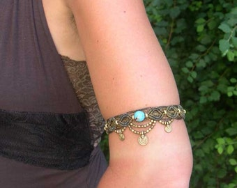 Macrame Armlet Anklet Turquoise Made to Order