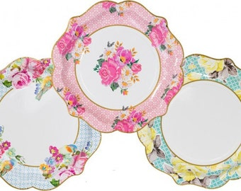 """Shabby Chic Birds and Bouquet 8.5""""  Paper Plates - set of 12"""