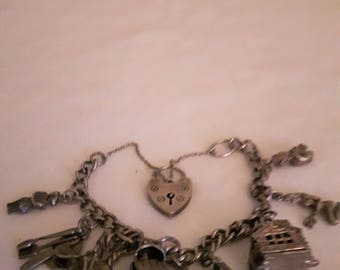 Vintage Sterling Silver Charm Bracelet with Sterling Silver Hallmarked on each Link - 1940s - Wedding/Birthday/Anniversary/Mother's Day