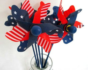 4th of July Decorations Stars and Stripes Pinwheels Fourth of July Pinwheels 4th of July Party Favors July 4th Pinwheels Red White and Blue