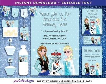 Frozen Elsa & Anna Birthday Party Printables / Invitation - INSTANT DOWNLOAD - Fully EDITABLE text