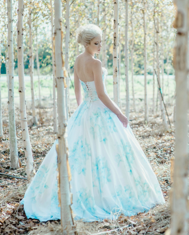 Floral Blue Wedding Dress Watercolor BONAPARTE Silk Cotton