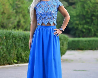 Blue Prom/wedding/reception/bridesmaid 2-piece Misha dress/costume