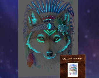 Glow in the Dark Bohemian Wolf Wall Art Print - Spirit Animal Totem Series - Limited Edition Woodland Nursery Wolf Gifts Botanical Decor