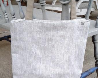 Linen Tote Bag, 13.5wx16tx2d,Linen/Cotton Tote, Natural Linen Tote, Linen Market Bag, Linen Shop Bag, Linen Beach Bag, Linen Office Tote Bg