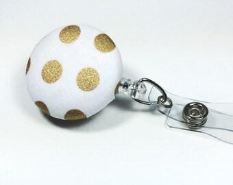 Gold Polka Dot Badge Reel -  Metallic Retractable Name Badge  - Name Badge Holder - Nurse Badge Holder  - Name Tag - Retractable ID Badge