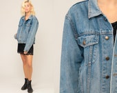 80s Denim Jacket Jean Jacket Grunge Biker Jacket Distressed Jean Jacket Vintage 1980s Button Up Hipster Blue Trucker Medium