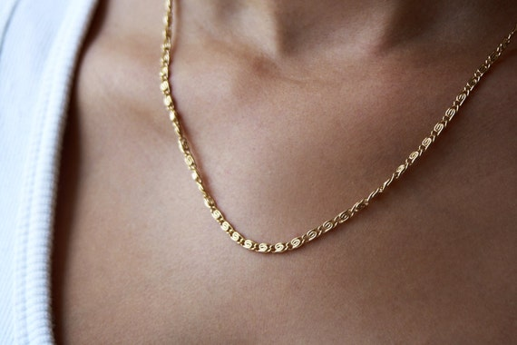 Delicate gold chain link necklace everyday necklace 24k