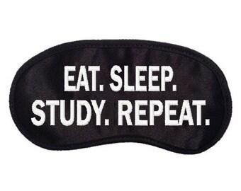 Eat Sleep STUDY Repeat Embroidered Eye Mask - favorite on pinterest tumblr instagram polyvore