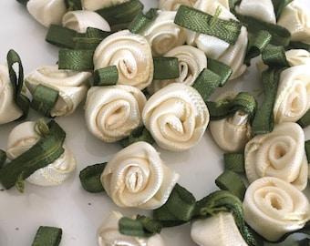 20, ivory ribbon roses, satin ribbon roses, ivory satin roses, sew on flowers, small ribbon roses, ivory ribbon flowers, flower appliques