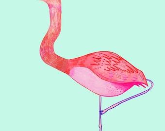Flamingo. children's art, kids decor, childrens decor, nursery wall art, flamingo art print, flamingo illustration.