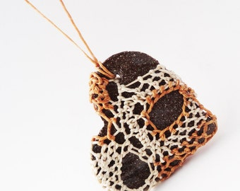 Woven Necklace, Cream Butterscotch Chocolate Brown, i carry your heart with me, Lace Heart