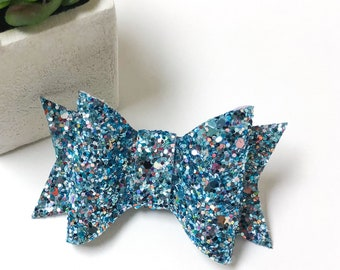 Treasure at Sea Blue Glitter Faux Leather Chunky Hairbow/Clip