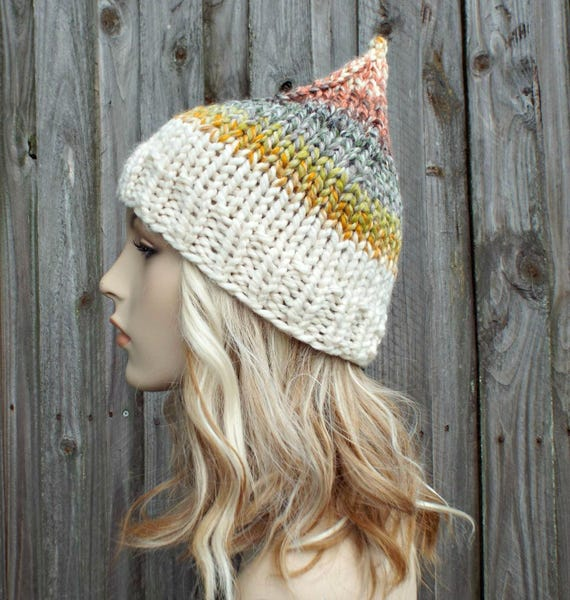 Mens or Womens Knitted Gnome Hat - Rainbow Elf Hat - Wool Blend Knit Hat Warm Winter Beanie - Coney Island and Cream