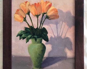 Tulips, Yellow and Orange tulips, Still Life Oil Painting, floral