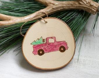 Retro Truck Wood Christmas Ornament