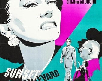Spring Sales Event: SUNSET BLVD Movie Poster 1950 Hollywood Film Noir RARE Print