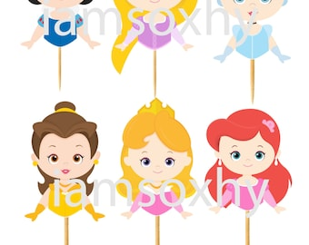 Set of 24 Disney princesses die cuts for cupcake/cakepop toppers(snow white,aurora,belle,cinderella,ariel&rapunzel)