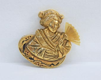 F Volle Paris Brooch Japanese Girl with Bakelite Fan