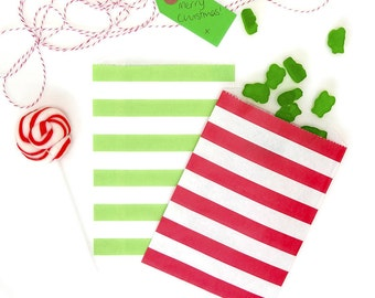 "12 Medium Horizontal Stripe Christmas Favor Bags, Paper Gift Bags . Red & Green . 5"" x 7.5"""