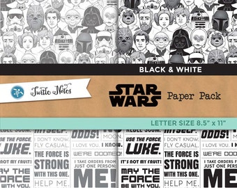 Star Wars Black & White Letter Sized Paper Pack : 12 Printable Digital Scrapbook Papers
