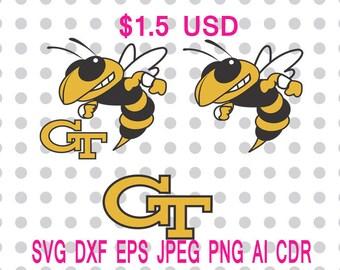 Georgia Tech Yellow Jackets Logo Svg Dxf Eps Png Jpg Cdr Ai Cut Vector File Silhouette Cameo Cricut Design Vinyl Decal