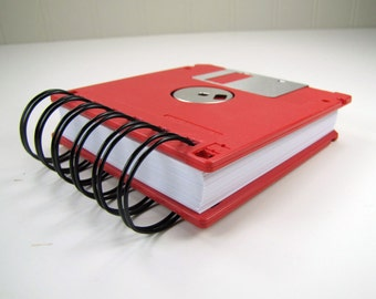 Floppy Disk Notebook JUMBO Cherry Red Computer Disk Recycled Geek Gear Blank Mini 125 sheets