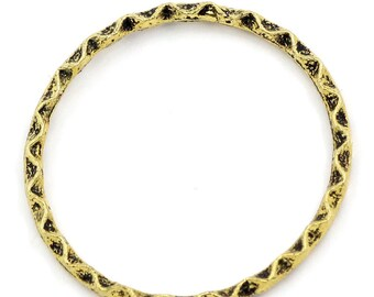 """10 pcs Antique Gold Ripple Stripe Pattern Soldered Connector Closed Jump Rings - 27mm (1 1/8"""") - 14 Gauge (1.7mm Thick)"""