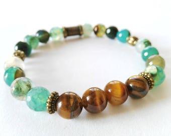 Agate And Tiger's Eye Bracelet, Yoga Bracelet, Yoga Jewelry, Copper Color, Gemstone Jewelry